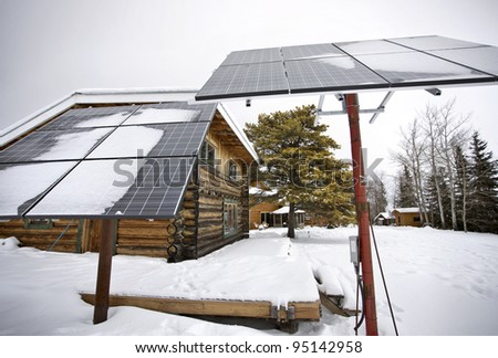 Solar Panels Saskatchewan Hunting Lodge - stock photo