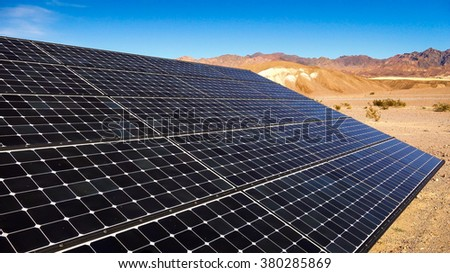 Solar panels soak up the sun in the Mojave Desert in Death Valley National Park