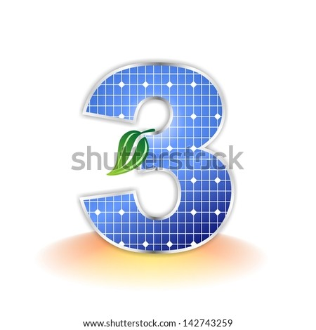 solar panels texture, number 3 icon or symbol - stock photo
