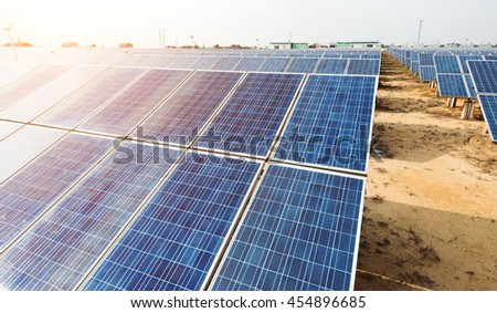Solar panels - tracking system - stock photo