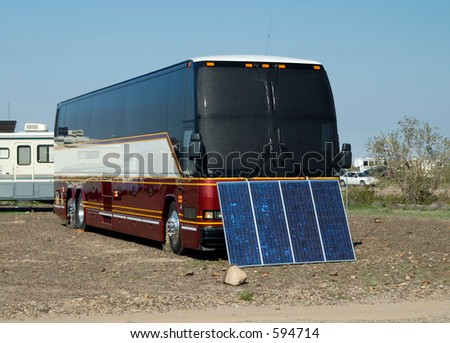 Solar panels used in the desert to provide electricity for a recreational vehicle.