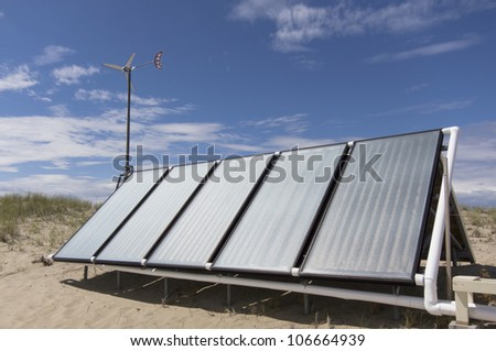 solar panels used to heat hot water for a residence