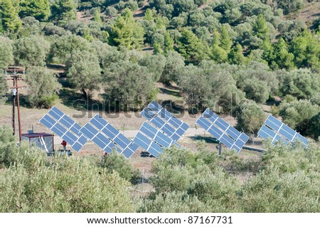 Solar panels used to produce electricity
