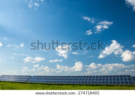 Solar panels with blue sky. - stock photo