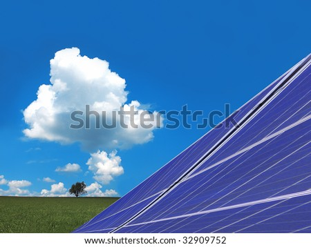 solar panels with landscape - stock photo