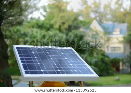 solar panels  with rural residence - stock photo