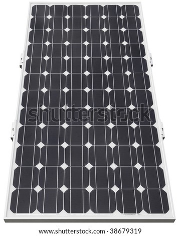 Solar photovoltaic cell isolated with clipping path - stock photo