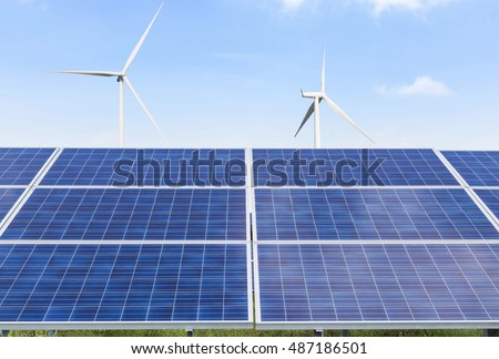 solar photovoltaics  panel and wind turbines generating electricity alternative energy from nature