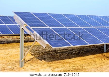 solar plant on field - stock photo