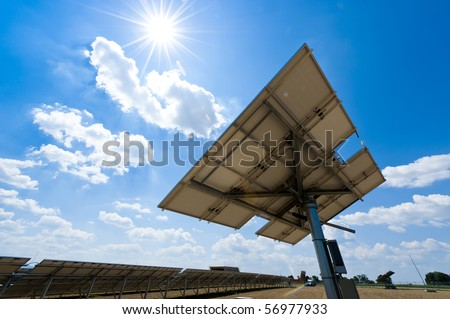 Solar Polar Station against the Sun with some Lens Flares - stock photo