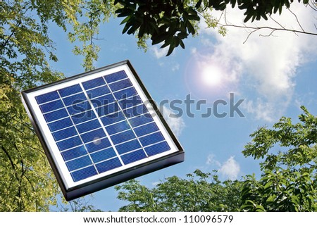 Solar power a green solution for renewable energy - stock photo