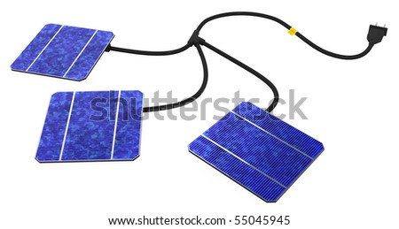 Solar power 3d model, over white, isolated - stock photo