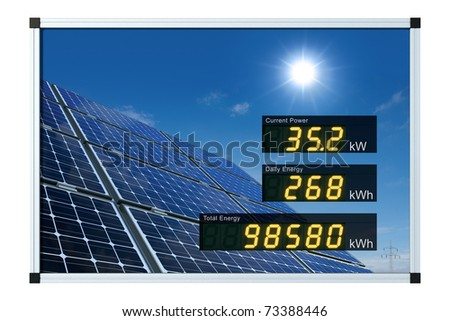solar power display - english - stock photo