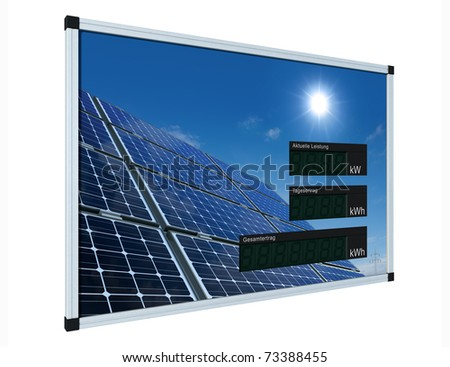 solar power display - german - LCD-digits without values, easily editable with clipping path - stock photo