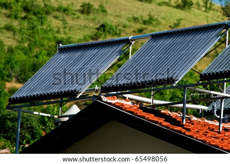 Solar Power from two sun panels - stock photo