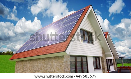 Solar Power House 3d Concept, Solar Panels On The Roof With Lens Flare, Solar Thermal Energy System, House With Alternative Energy Sourses - 3D Rendering - stock photo