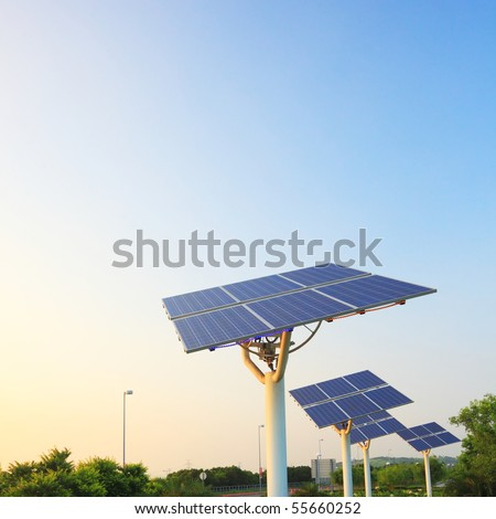 solar power panel array - stock photo