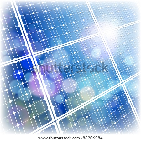 Solar power panel & blue sky. Bitmap copy my vector ID 64890427 - stock photo