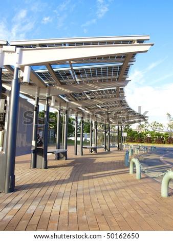 Solar power panel in park - stock photo