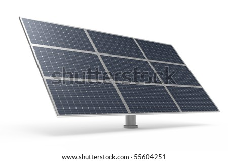 Solar power panel isolated on white background - stock photo
