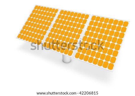 Solar power - panels - The renewable, ecological sources of energy. - stock photo