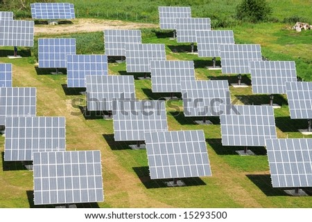solar power plant - an aerial view - stock photo