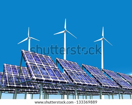 Solar Power Plant and Offshore Wind Farm Computer generated 3D illustration - stock photo