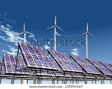 Solar Power Plant and Wind Farm Computer generated 3D illustration