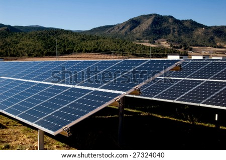 Solar power plant - Clean energy in Spain - stock photo