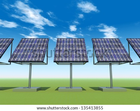 Solar Power Plant Computer generated 3D illustration