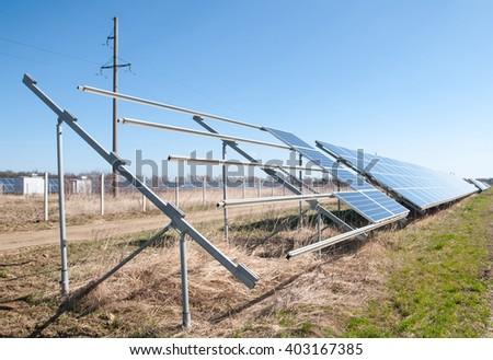 solar power plant in construction - stock photo