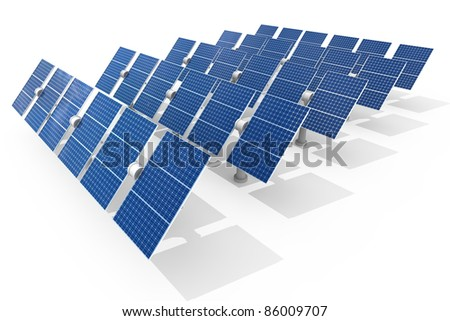 Solar power plant isolated on white background