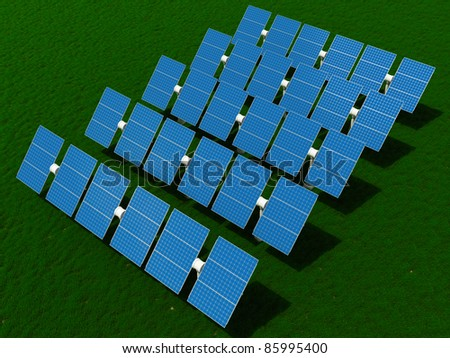 Solar power plant on the field with grass - stock photo