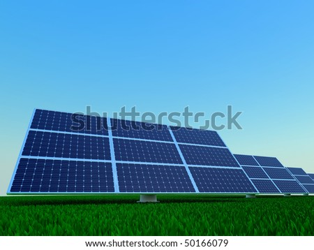 Solar power plant. Rows of photovoltaic panel. - stock photo