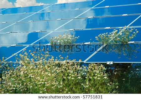 Solar power plant with chamomile - stock photo