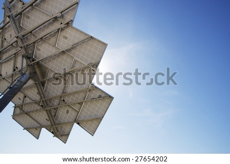 solar power station from behind. - stock photo