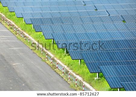 Solar power station in blue sky - stock photo
