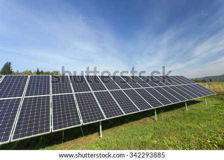 Solar Power Station in the autumn Nature - stock photo