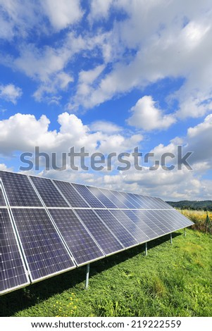Solar Power Station in the dramatically summer Nature