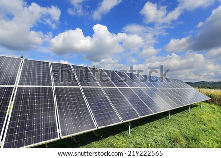 Solar Power Station in the dramatically summer Nature - stock photo