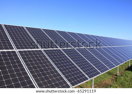 Solar Power Station in the green Nature - stock photo