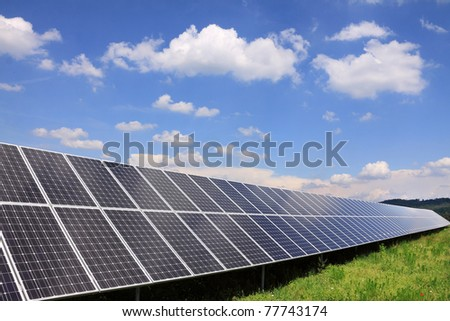 Solar Power Station in the green spring Nature