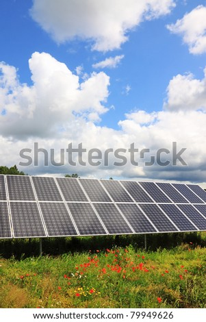 Solar Power Station in the green spring Nature - stock photo