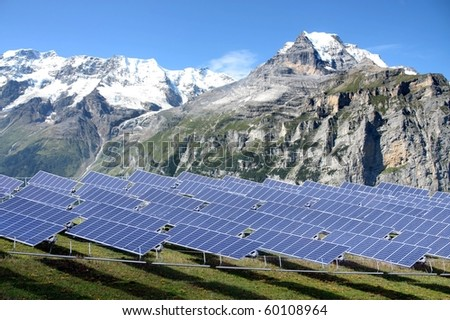 Solar power station in the mountain region - clean solution - stock photo