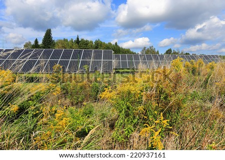 Solar Power Station in the summer Nature - stock photo