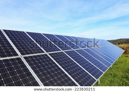 Solar Power Station in the summer Nature