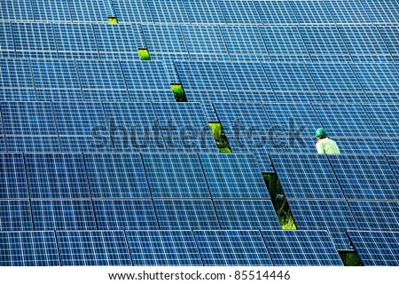 Solar power station top view - stock photo