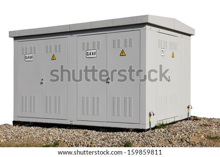 Solar power substation stands on the foundation of gravel. Only standard voltage native character. Sunny day. Isolated with patch - stock photo
