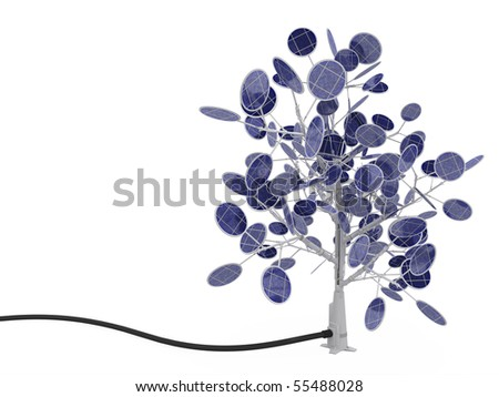 Solar power tree 3d, over white, isolated - stock photo