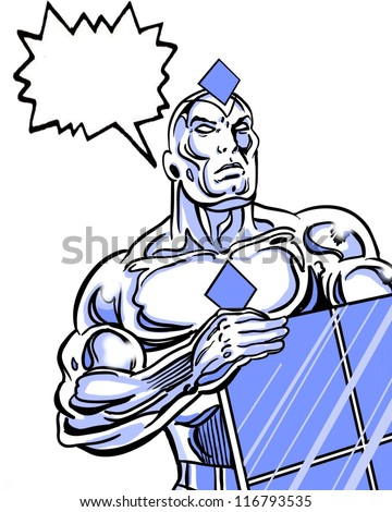 solar powered avenger comic book style character holding a solar panel